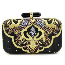 Rhinestone Embroidery Evening Bag With Chain -