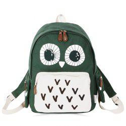 Color Block Sac à dos à motif hibou -