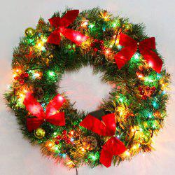 Bowknot 50CM Christmas Wreath with LED Lights -