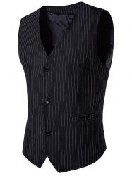 V Neck Single Breasted Vertical Stripes Waistcoat -