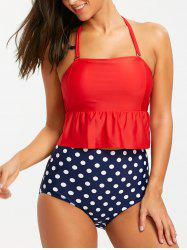 Peplum Polka Dot High Waisted Tankini Swimsuit -