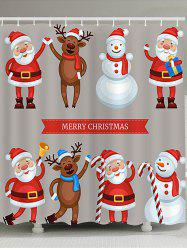 Christmas Santa Snowman Elk Printed Waterproof Shower Curtain -