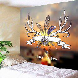 Wall Hanging Flower Feather Printed Tapestry -