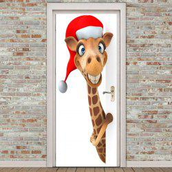 2Pcs Giraffe Pattern Environmental Removable Christmas Door Stickers - Brown - 38.5*200cm*2pcs