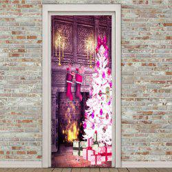 Environmental Removable Christmas Fireplace Pattern Door Stickers -