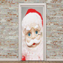 Eyeglasses Santa Claus Pattern Environmental Removable Door Stickers -