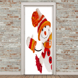 Christmas Snowman Pattern Environmental Removable Door Stickers -