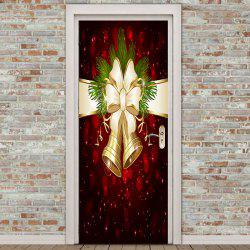 2Pcs Christmas Bell Printed Environmental Removable Door Stickers - Colorful - 38.5*200cm*2pcs