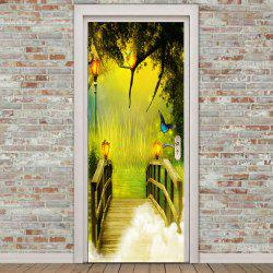 Forest Lakeside Plank Bridge Printed Door Stickers -
