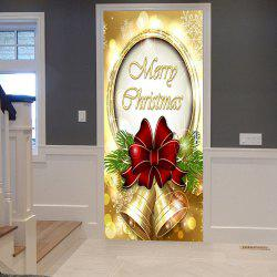 Merry Christmas Bells Pattern Door Cover Stickers - 38.5*200cm*2pcs