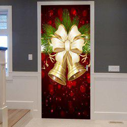 Christmas Bells Bowknot Pattern Door Cover Stickers -