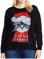 Long Sleeve Cartoon Cat Christmas Sweatshirt -