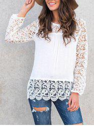 Long Sleeve Lace Panel Blouse -