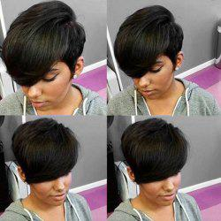 Short Pixie Side Bang Straight Human Hair Wig -