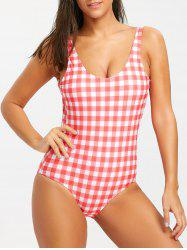 Plaid High Cut Tank One Piece Swimsuit -