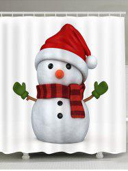 Showerproof Lovely Christmas Snowman Pattern Bathroom Curtain -