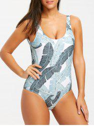 Leaves Print One Piece Backless Swimsuit -