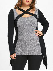 Plus Size Criss Cross Marled T-shirt -