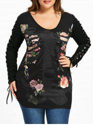 Plus Size Skeletal Floral Lace Up T-shirt -