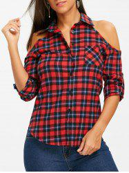 Open Shoulder Button Up Plaid Shirt -