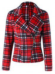 Lapel Skew Zipper Plaid Jacket -
