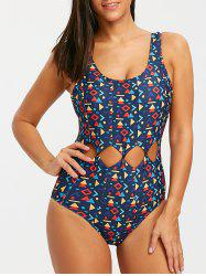 f777b2ee9e46f 40% OFF] Backless Geometric Print One Piece Swimsuit   Rosegal