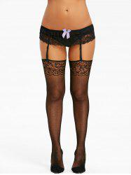 Cut Out Lace Panel Fishnet Garter Tights -