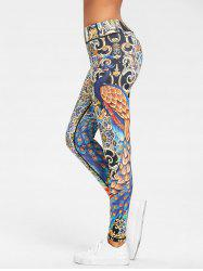 Skinny Peacock Feather Print Leggings -