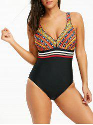 Printed Criss Cross One Piece Swimwear -