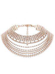 Multilayered Rhinestone Metallic Chokers Necklace -