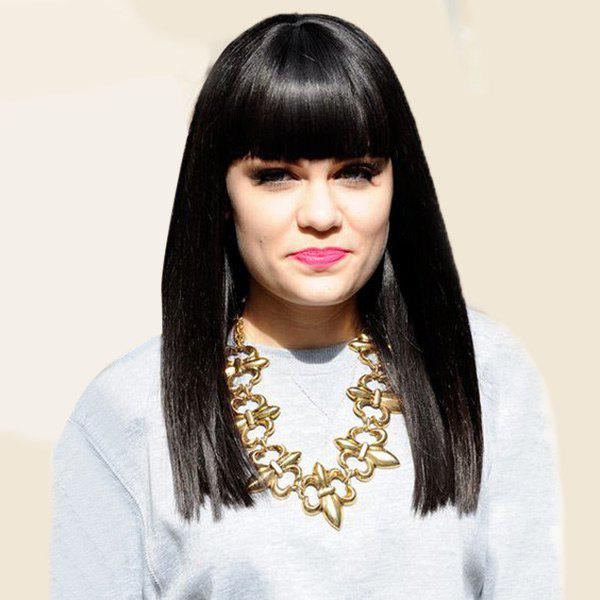 Outfits Long Full Fringe Straight Capless Human Hair Wig