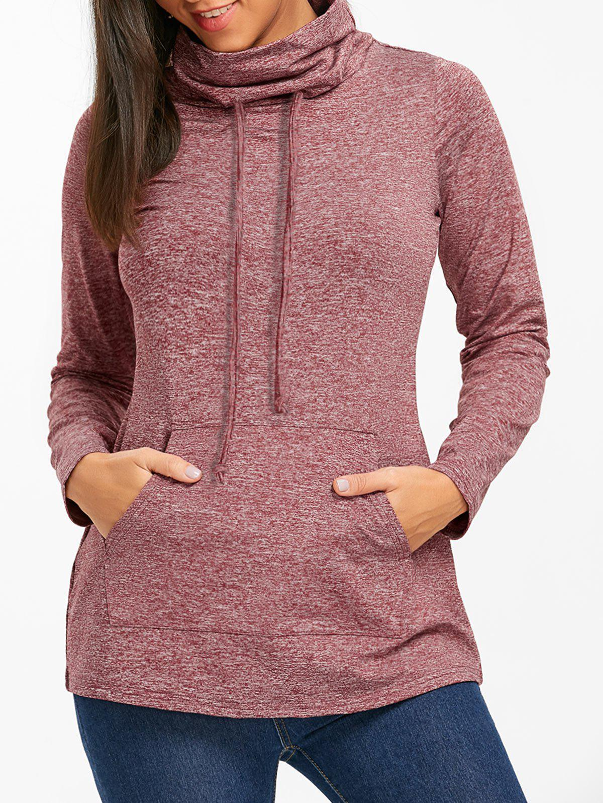 Outfit Heathered Cowl Neck Drawstring Sweatshirt