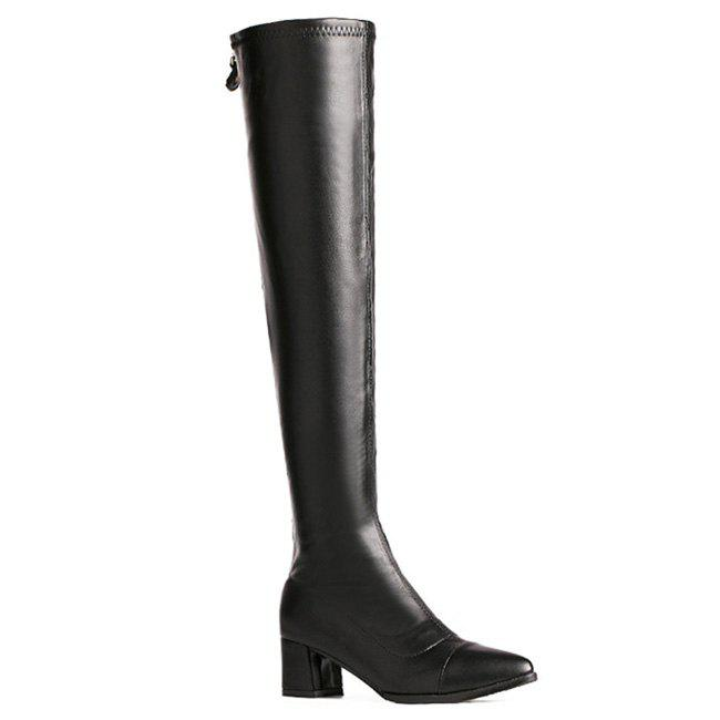 Online Pointed Toe Leatherette Over the Knee Boots
