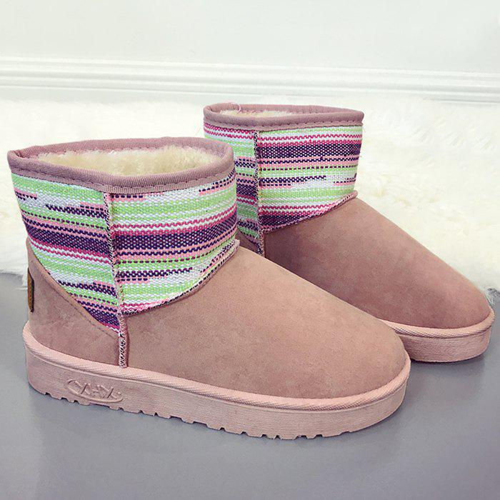 Hot Color Block Slip On Snow Ankle Boots
