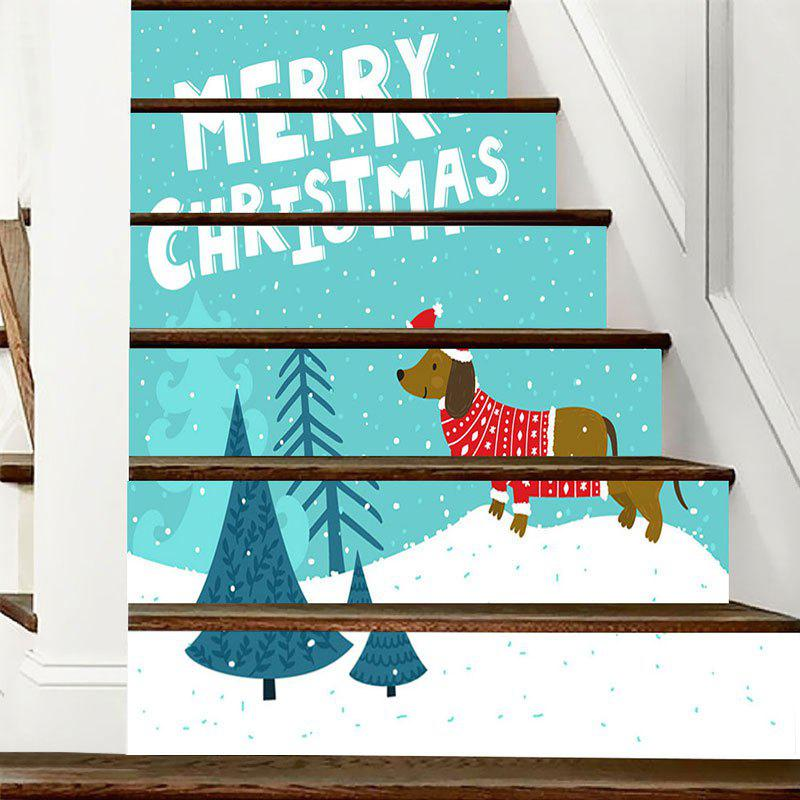 Outfit Christmas Dog Tree Letter Print Stair Stickers