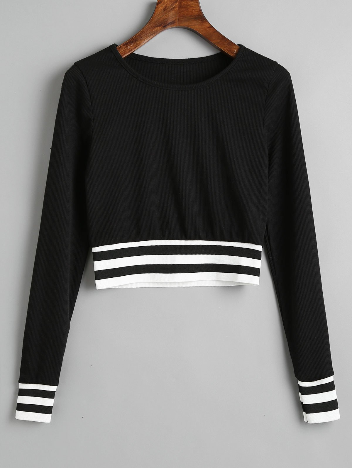 Fancy Stripes Panel Ribbed Cropped Sweatshirt