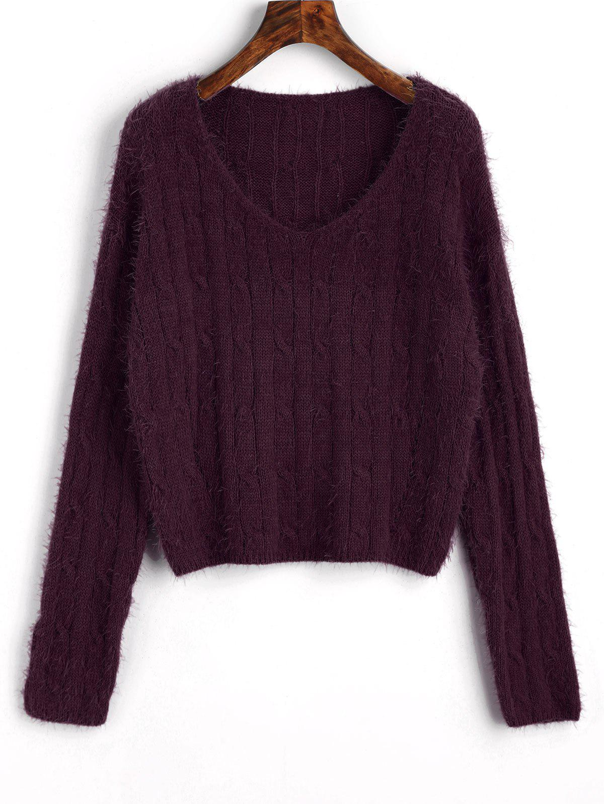 Fancy Cable Knit Textured Cropped Sweater