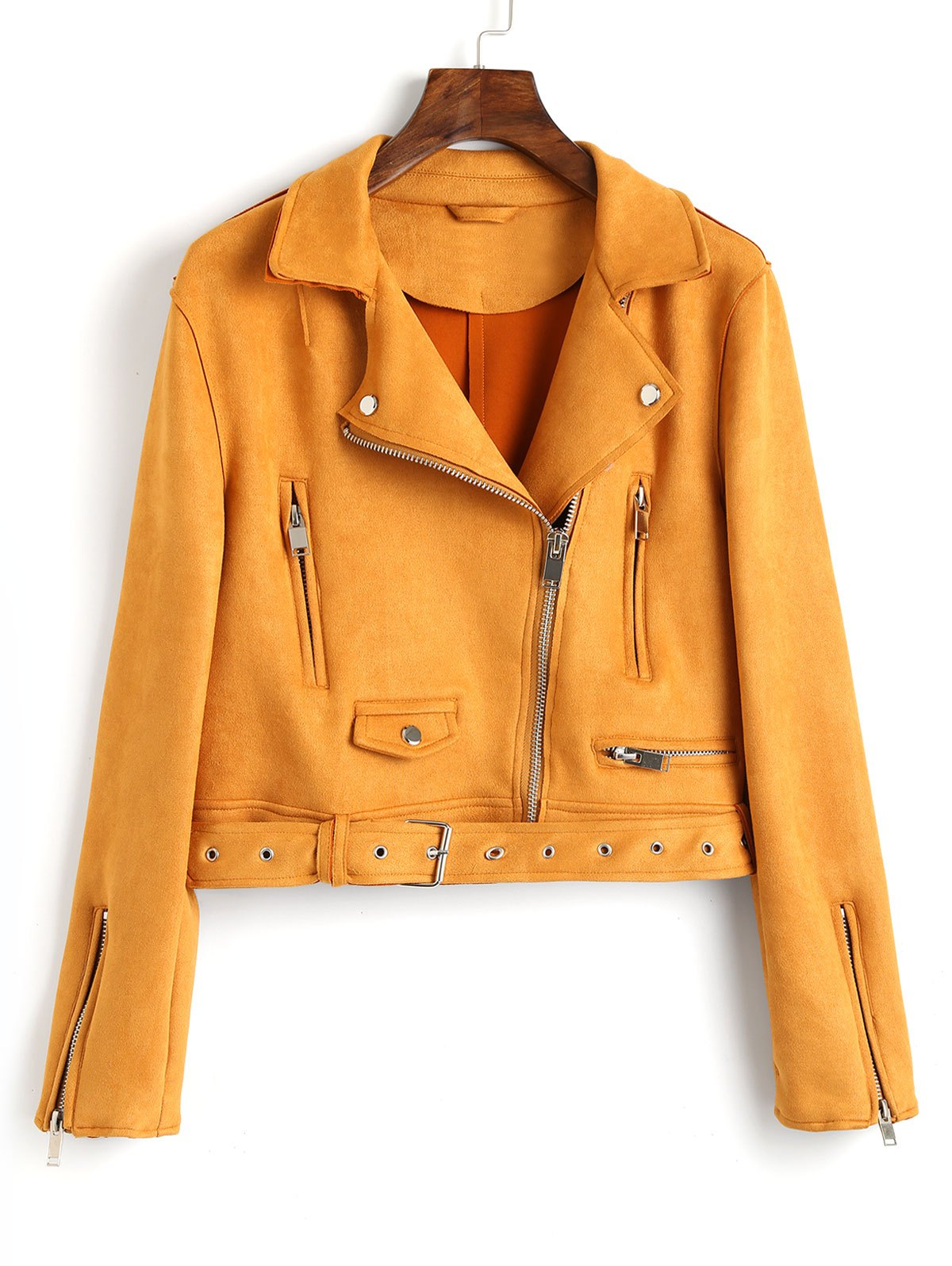 Chic Faux Suede Zip Up Belted Jacket