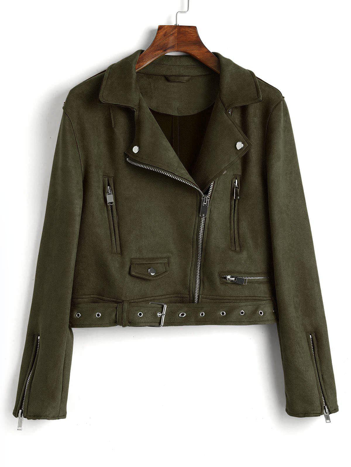 Fashion Faux Suede Zip Up Belted Jacket