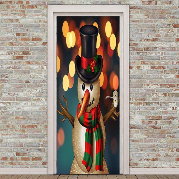 Cheap Starlight Background Snowman Pattern Removable Door Stickers