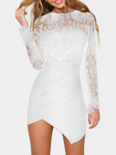 Online Asymmetric Lace Panel Short Bodycon Dress