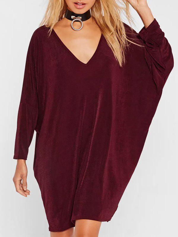 Online Plunge Neck Casual Batwing Dress