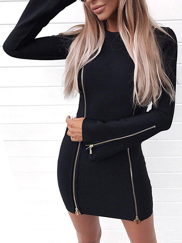New Short Zippers Bodycon Dress