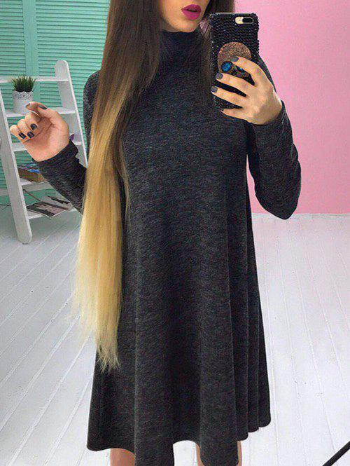 Outfits Long Sleeve High Neck A-line Dress