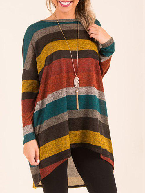 Affordable Long Sleeve Color Block High Low Top