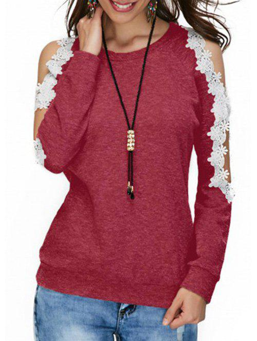 Affordable Cold Shoulder Lace Panel T-shirt