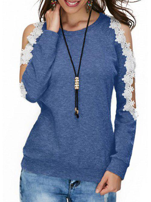 Unique Cold Shoulder Lace Panel T-shirt