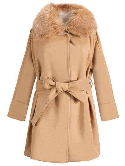 Unique Faux Fur Collar Hooded Coat with Belt