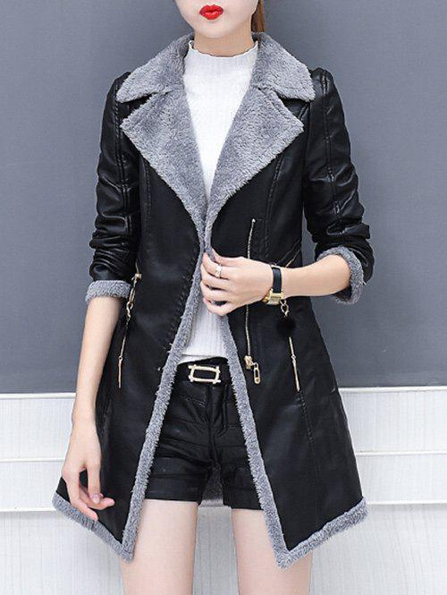 Latest Lapel Collar Zipper Insert Faux Leather Coat