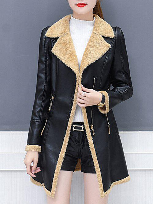 Sale Lapel Collar Zipper Insert Faux Leather Coat